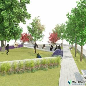 Koncepcja zagospodarowania funkcjonalno-przestrzennego parku miejskiego przy ul. Kościuszki w Nasielsku.